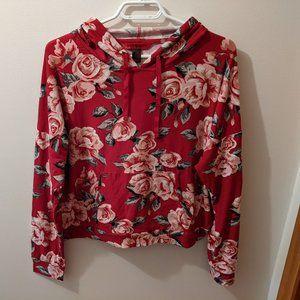 *2/15$* Hot Kiss Floral Hooded Long Sleeve Shirt.